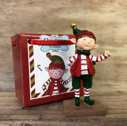 Christmas Wishes ~ Mini Elf Ornament in Gift Bag - Thumbs Up